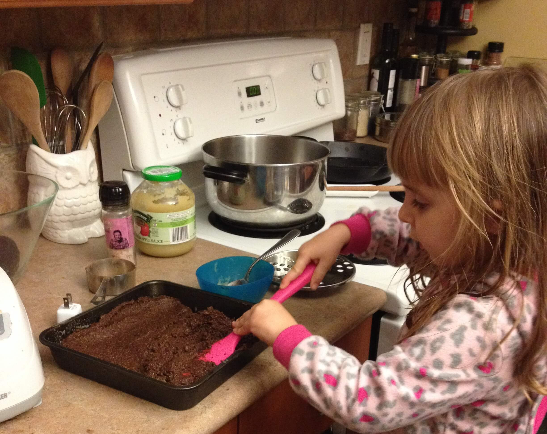 black bean brownies in the kids kitchen