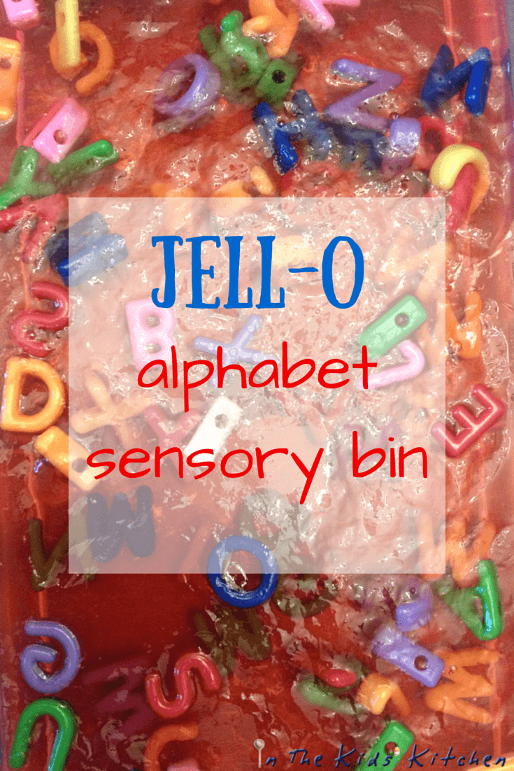 Jell-o Alphabet Sensory Bin: squishy, not sticky sensory fun with letters