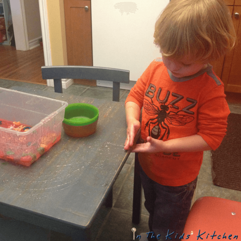 Alphabet Sensory Play - Jelly clean-up!