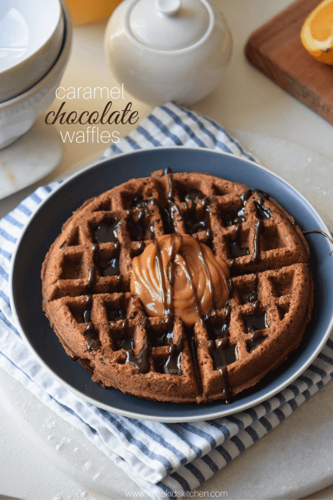 An amazing brunch recipe that comes together in minutes, these Caramel Chocolate Waffles are perfect for celebrating any occasion
