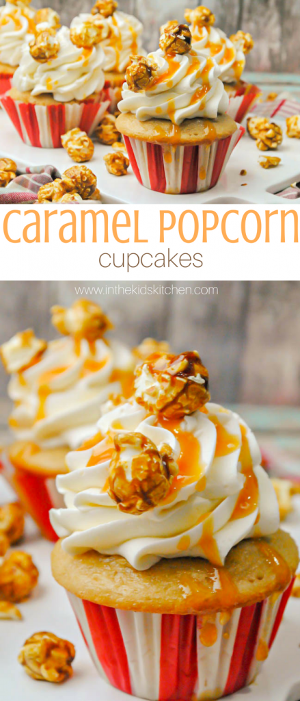 Caramel Popcorn Cupcakes, perfect for a kids' circus or baseball birthday party theme - a delicious vanilla butter cupcake with caramel buttercream topped with cracker jack popcorn