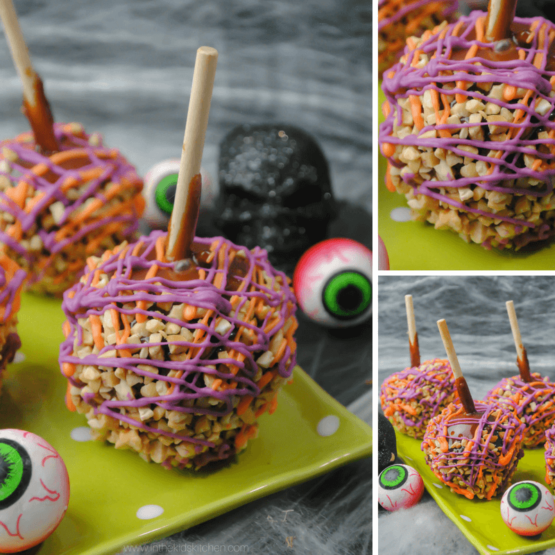 Colorful, crunchy Halloween caramel apples are perfect for kids parties, gifts, and treats! A fun dessert recipe to make with kids too!