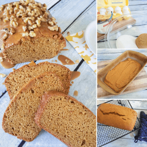 Spot-on copycat Starbucks pumpkin loaf recipe! Perfect fall flavored pound cake with a rich caramel glaze - your favorite holiday dessert at home any time!