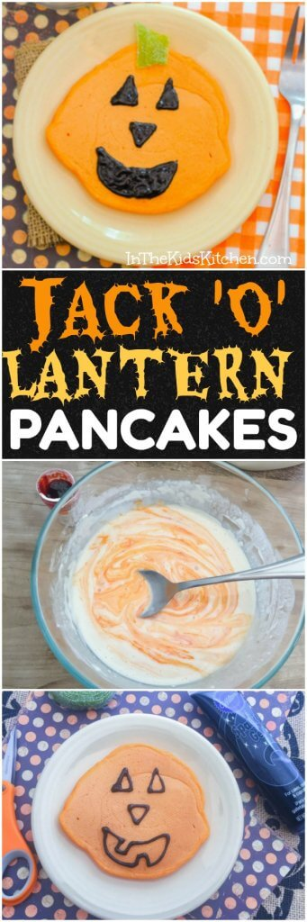 Ready in 5 minutes! Your kids will love this special spooky breakfast and you'll love how easy these Jack O'Lantern Halloween Pancakes are to make!
