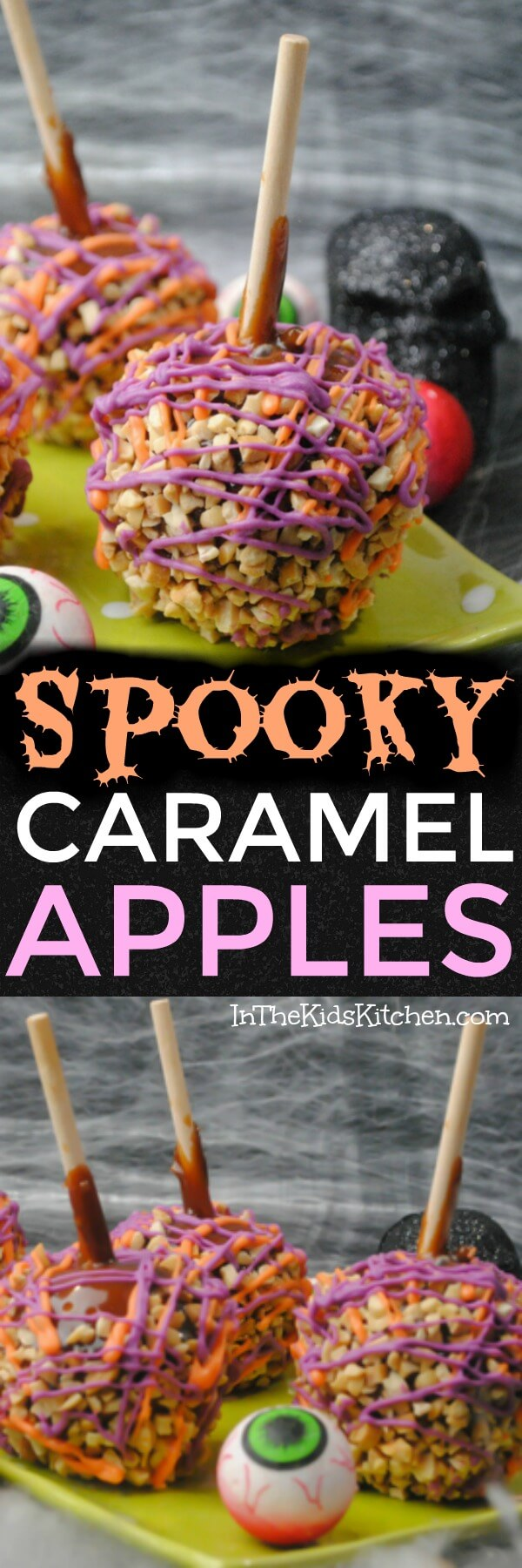 A spooky twist on a classic treat — both kids and grown-ups will love these crazy colorful Halloween Caramel Apples!
