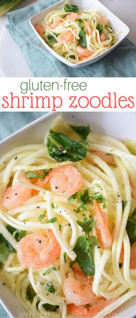 You'll never believe something so healthy can taste so good! These gluten-free shrimp zoodles are a delicious alternative to shrimp scampi