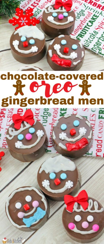These OREO Gingerbread Men Cookies let kids have all of the fun of decorating gingerbread men and women, without the fuss of baking cookies. My kids don't like the strong flavor of gingerbread cookies, but they definitely would enjoy these chocolate-covered OREO Gingerbread cookies