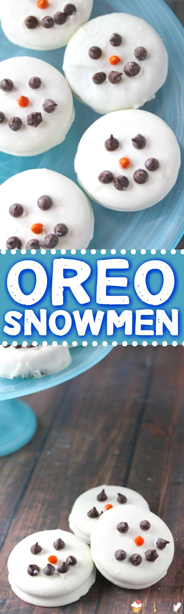 These adorable white chocolate covered Oreo Snowmen are a simple holiday treat that kids of all ages can make!