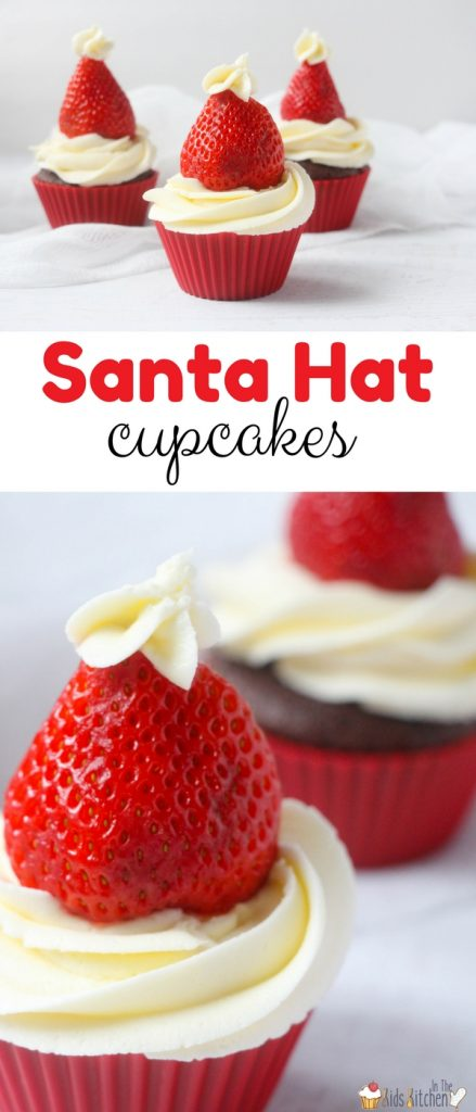 Kids will love getting to help make these delicious Strawberry Santa Hat Cupcakes for Christmas, a healthier alternative to red food dye
