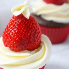 Chocolate & Strawberry Santa Hat Cupcakes