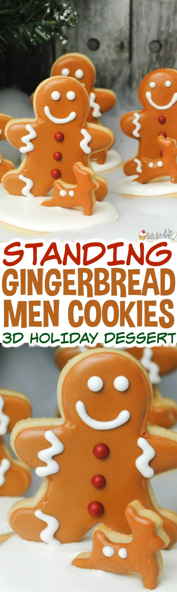 """An adorable 3D Christmas treat - these Gingerbread Men Sugar Cookies stand up on their own! Guaranteed to """"stand out"""" at a holiday party!"""