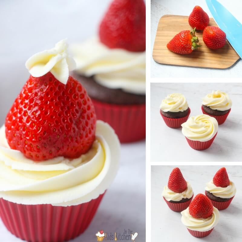 How to Make Strawberry Santa Hat Cupcakes, a delicious cupcake recipe kids can help make for Christmas