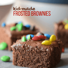 Chocolate Cake Brownies with M&M Fudge Frosting
