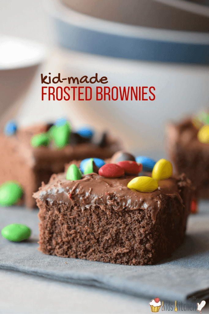 Kid-made Frosted Brownies are a childhood classic and this delicious cake-like brownie recipe is super easy for making with kids