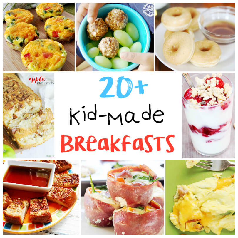 Learning to cook is a valuable life lesson for all children! 20+ Kid-Made Breakfast Recipes perfect to make together and teach kitchen skills.