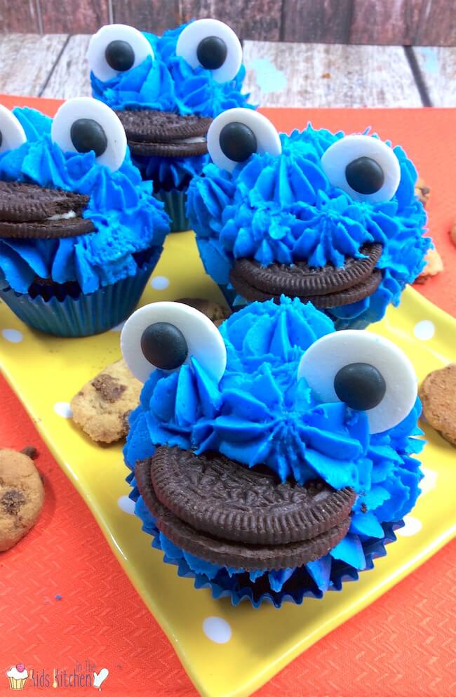 Cookie Monster Cupcakes In The Kids Kitchen