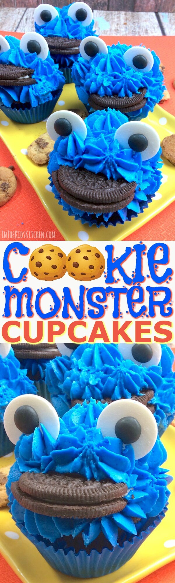 Bright blue Cookie Monster Cookie Cupcakes are perfect for birthdays, party treats, or any occasion! Fun and easy dessert recipe to make with kids.