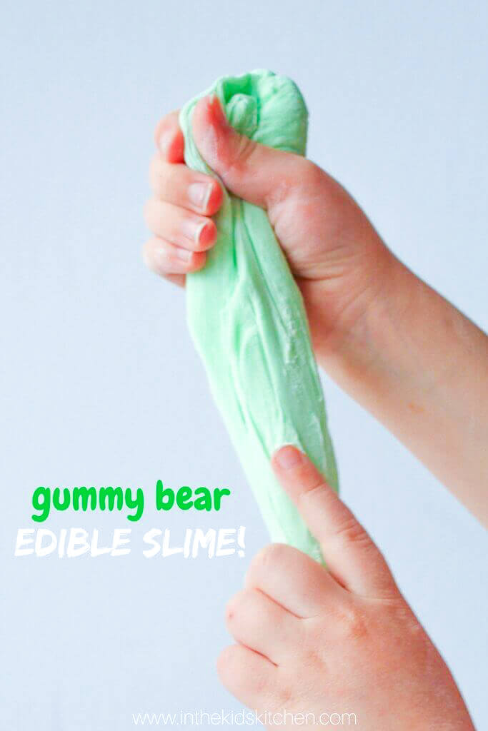 An exciting edible gummy bear slime recipe that's squishy and stretchy...yes, it's really made with gummy bears!