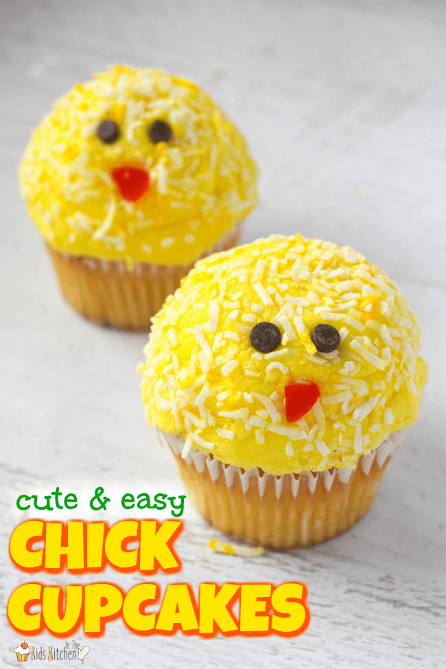 These cute and cheerful Baby Chick Cupcakes are guaranteed to brighten anyone's day! Easy dessert recipe perfect to make with kids.