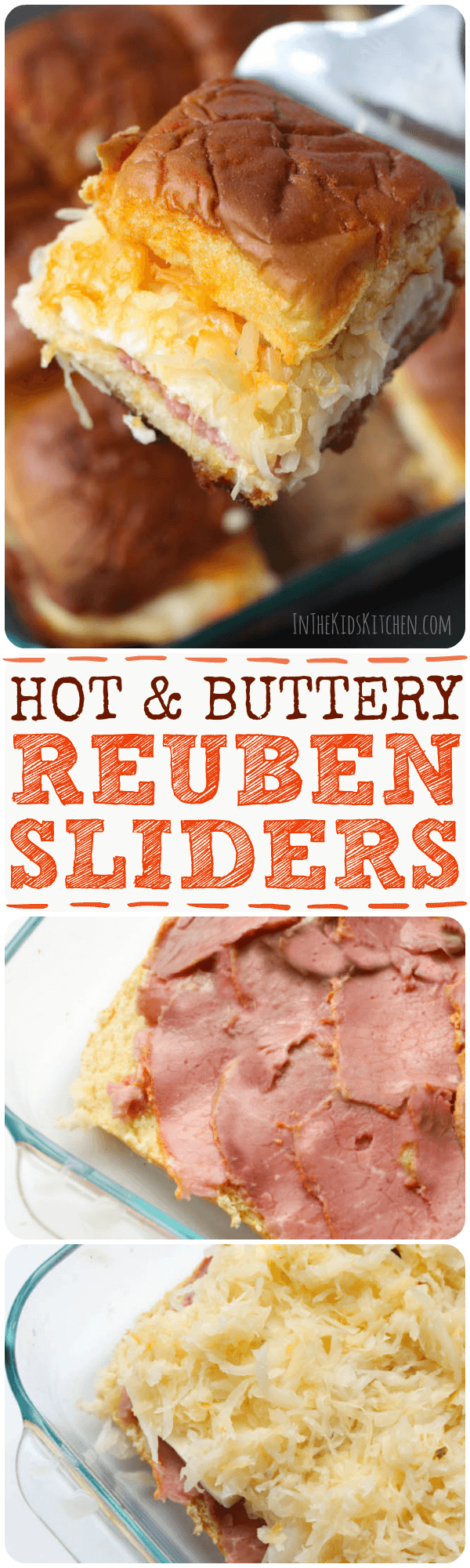 "The perfect mini sandwich - Hot out of the oven, with a ""secret"" butter dressing cooked into the bread, these Reuben Sliders literally melt in your mouth!"