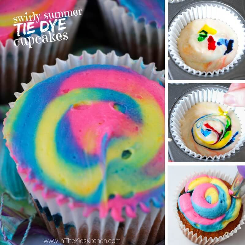 These Vibrant Tie Dye Cupcakes Are Perfect For A Summer Barbecue Or Kids Birthday Party