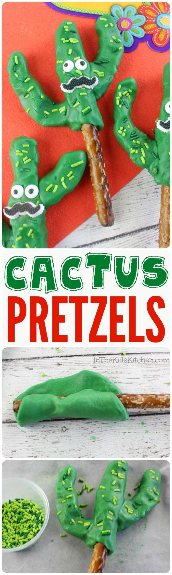 These Cactus Chocolate Covered Pretzel Rods are the cutest Cinco de Mayo or festive party dessert for both kids and adults!