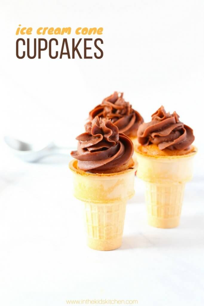 These cute Chocolate & Vanilla Ice Cream Cone Cupcakes are the perfect kids summer dessert — without all of the melting mess!
