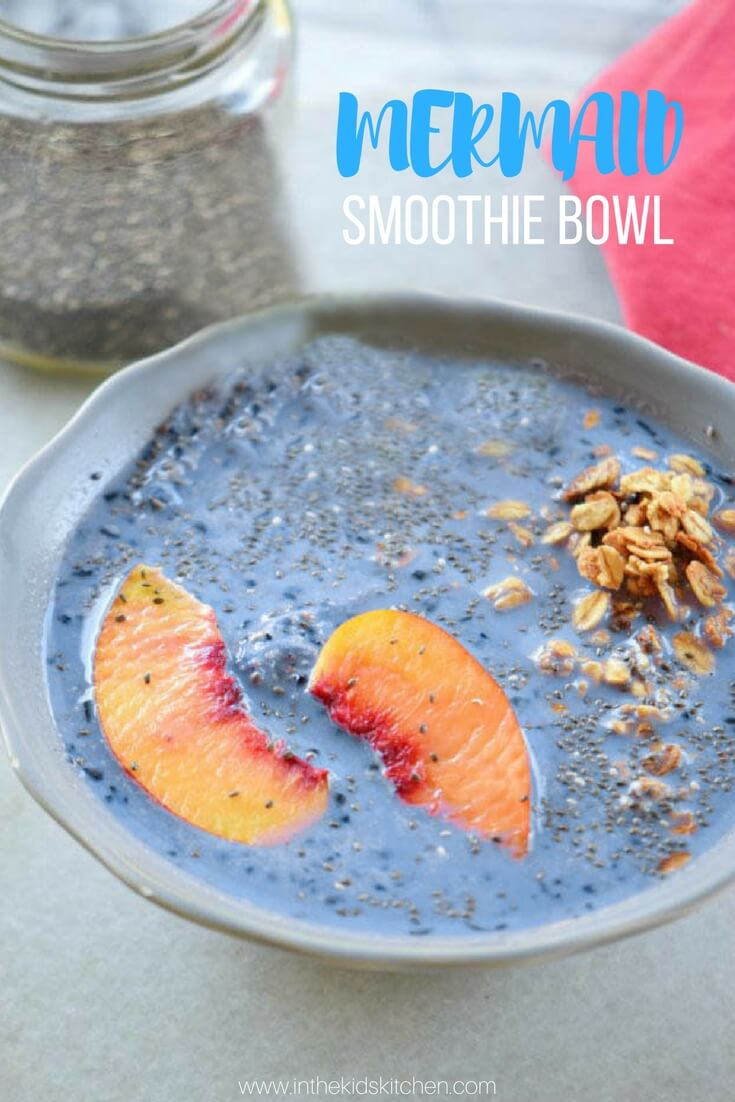 This beautiful blue Mermaid Smoothie Bowl is a magical and delicious way to get your kids to devour tons of nutrients in one sitting!