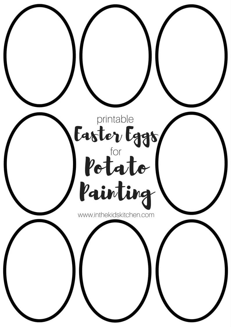 photograph about Printable Egg identified as Easter Egg Potato Stamping w/ Printable Template - Inside the