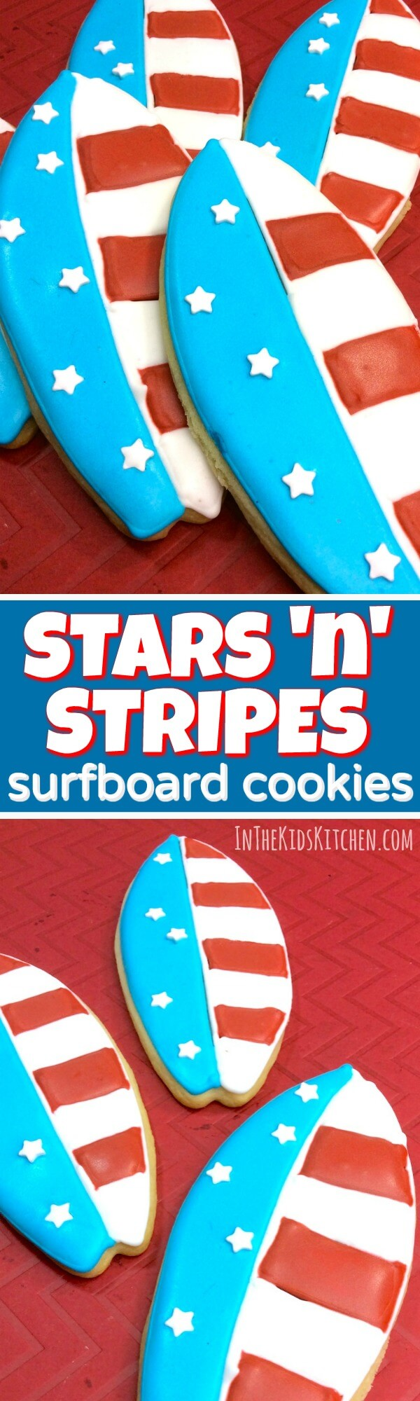 These patriotic surfboard sugar cookies are unique and super-cute treat for your Memorial Day or 4th of July party. Perfect for a summer pool party too!