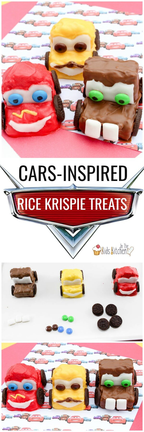 These clever Cars Rice Krispie Treats will be a hit with your little race car driver! Cute kid-made dessert perfect for movie night or birthday party.