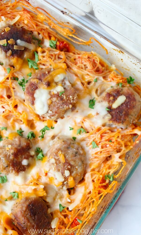 A comfort food classic made even better! Baked Spaghetti & Meatballs is hearty and wholesome and ready in a flash!
