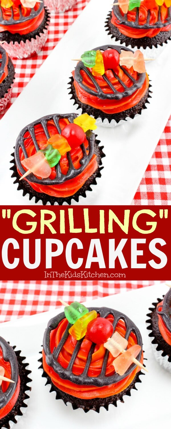 These colorful grill cupcakes are the perfect dessert to make for your next summer barbecue or backyard party! Both kids & grown-ups will love them!