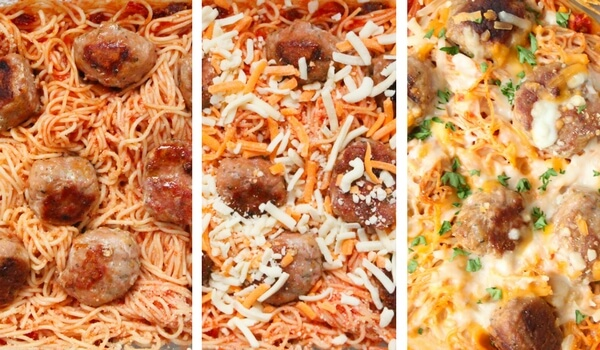 How to make baked spaghetti & meatballs photo collage