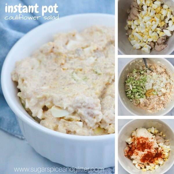 healthy cauliflower potato salad - step by step photo collage