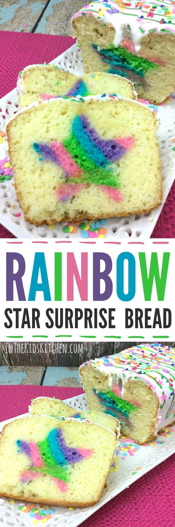 A deliciously sweet dessert bread with a hidden surprise inside: a rainbow star inspired by the My Little Ponies character Twilight Sparkle.