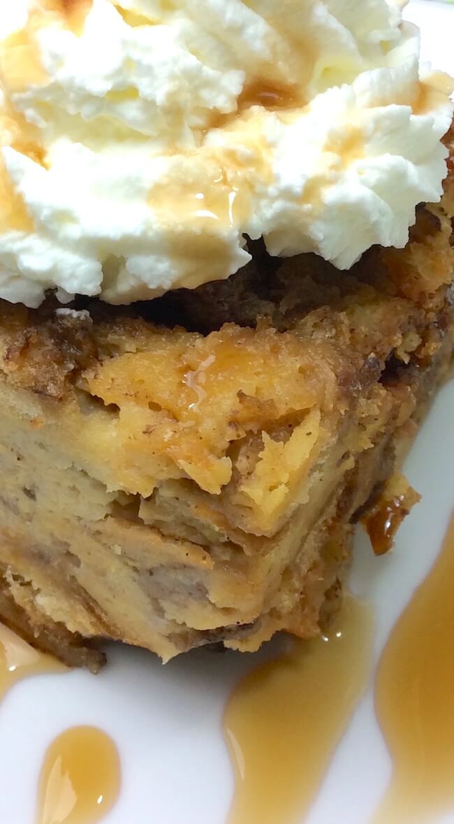 This crockpot bread pudding recipe couldn't be easier! Only five minutes of prep for this crowd-pleasing dessert (and your house smells amazing!!)