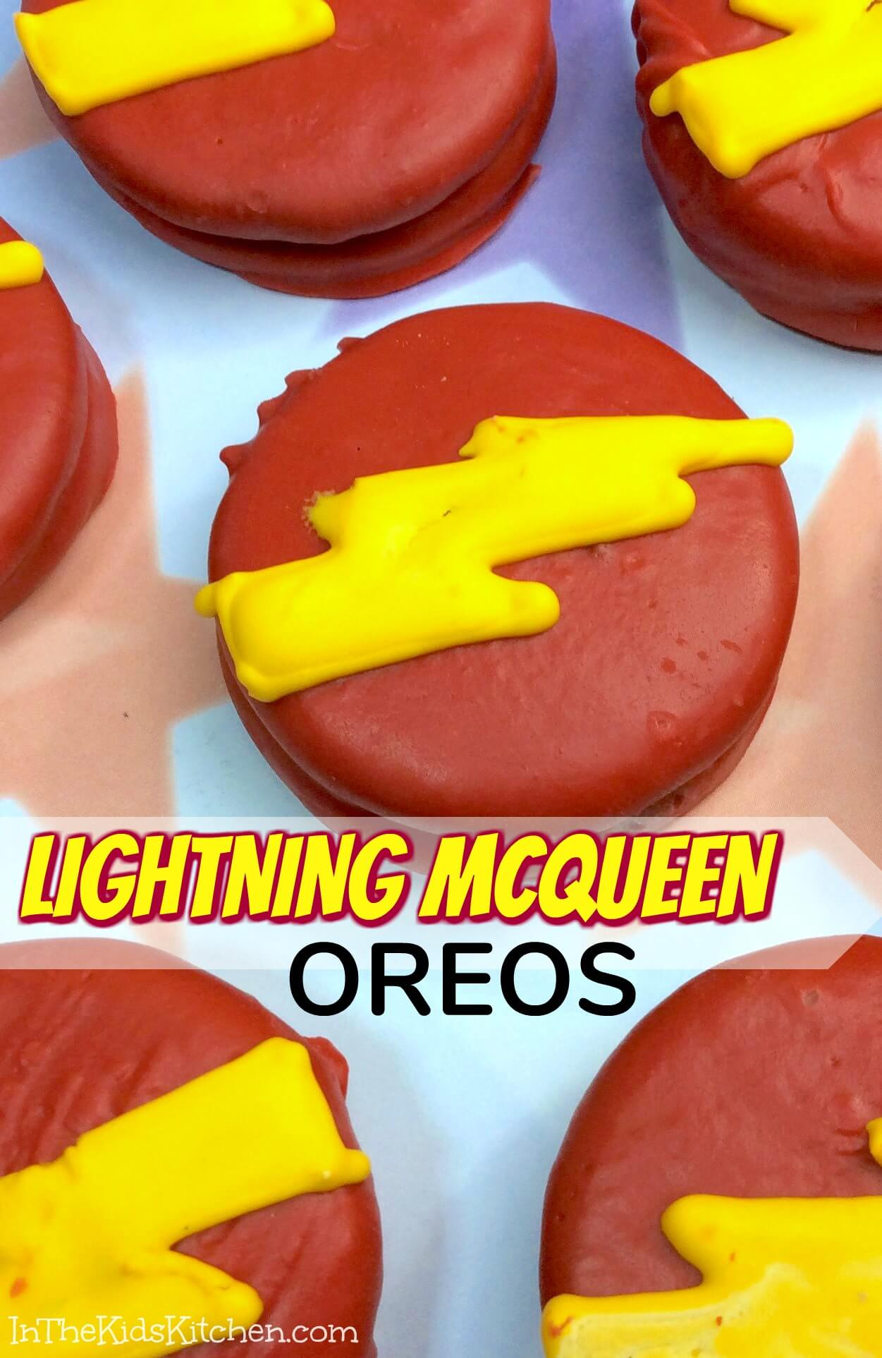 If you have a Cars fan in your house, then these colorful Lightning McQueen Oreos are a guaranteed hit! Perfect kids birthday party treat!