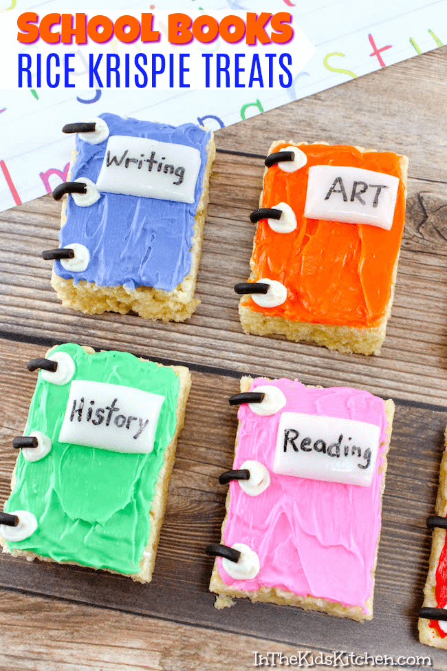 Celebrate the new school year with these adorable and tasty school books rice krispie treats! Also make a fun teacher appreciation gift!