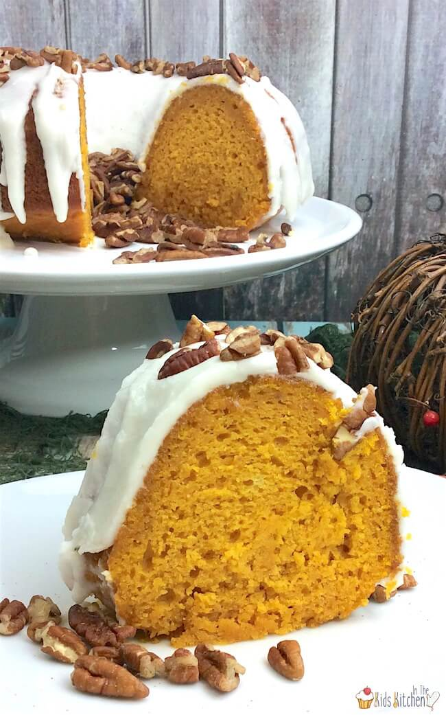 A perfectly moist classic pumpkin bundt cake...that's easier than ever to make! You'll love this foolproof Fall dessert recipe!
