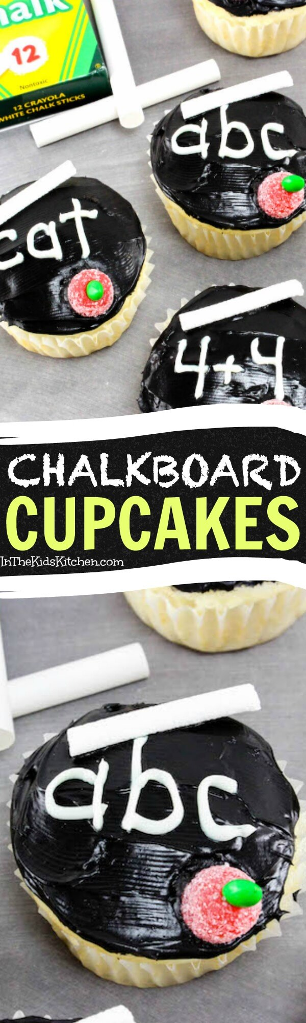 Get creative and celebrate a new school year with these super-cute chalkboard cupcakes! A fun teacher gift for back to school.