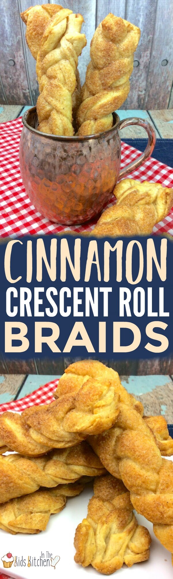 A fun twist on breakfast— the whole family will love these easy Cinnamon Crescent Roll Braids! Perfect for holidays or parties!