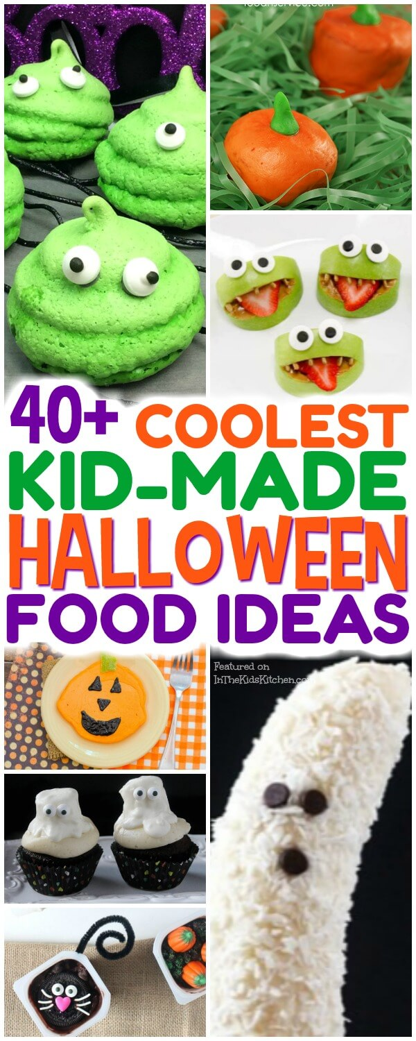 An AWESOME collection of over 40 of our favorite Halloween snacks that are not only kid-approved, but kid-made too!Healthy snacks, party treats, & more!
