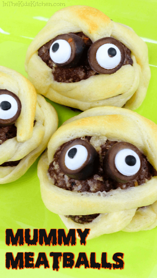 A non-candy Halloween treat that kids will love — Mummy Meatballs are a spooky fun party appetizer that's ready in about 20 minutes!