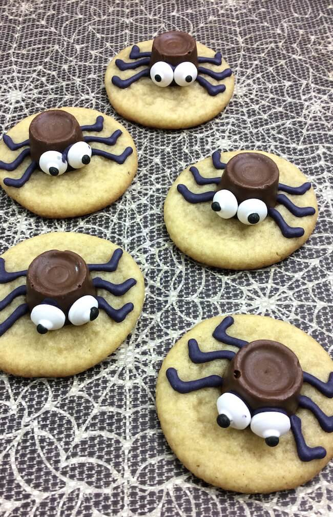 You'll LOVE these absolutely adorable and party perfect Halloween Spider Cookies! Only 4 ingredients and easy enough for kids to make.