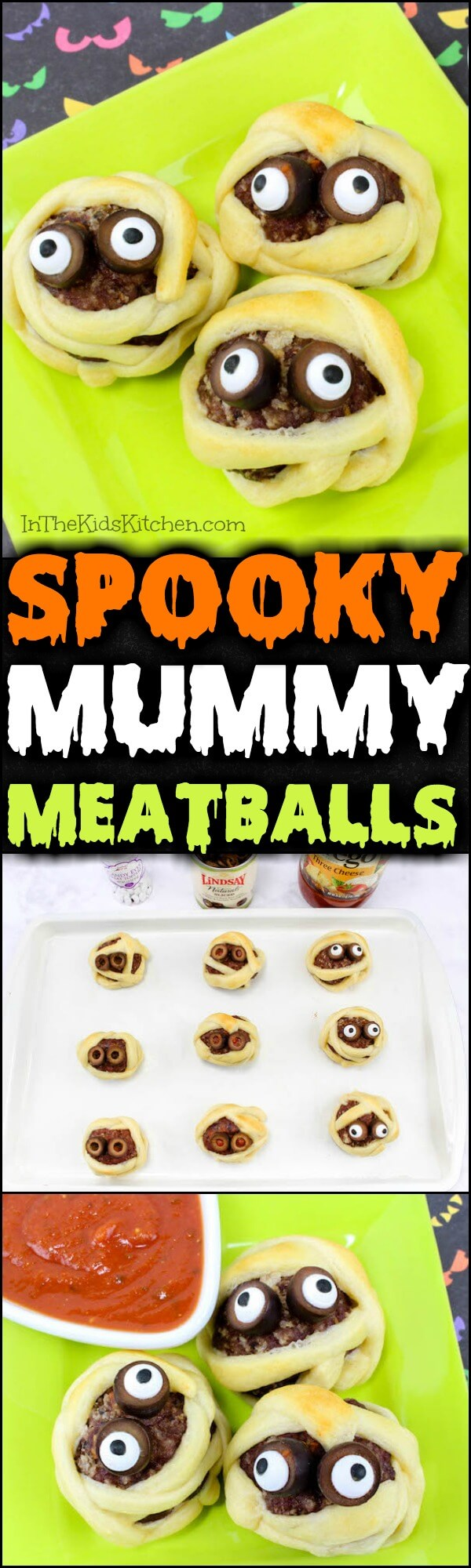 A non-candy Halloween treat that kids will love— Mummy Meatballs are a spooky fun party appetizer that's ready in about 20 minutes!