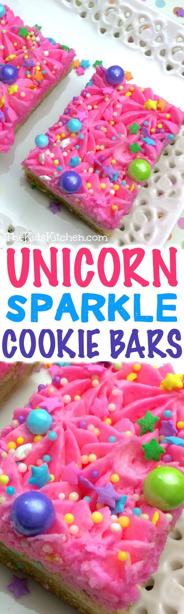 Supremely sparkly and perfect for any occasion — these unicorn sugar cookie bars are almost too much fun! (almost!)