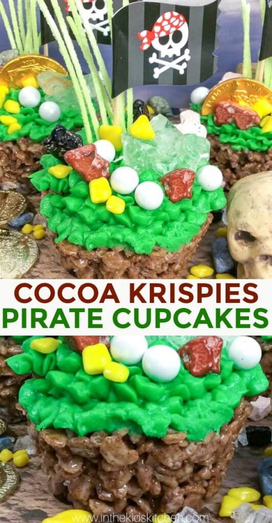 These Pirate Cupcakes made with Cocoa Krispies are an easy no-bake treat that's full of chocolate flavor...and fun!