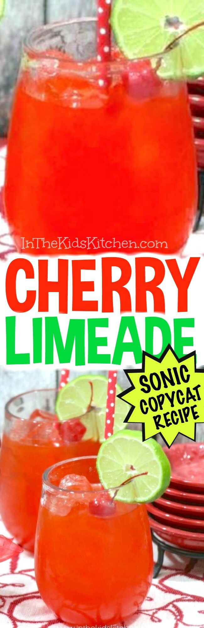 A spot-on homemade version of the famous Sonic Cherry Limeade. Just the right combo of tangy lime and sweet cherry - the ultimate summer classic!