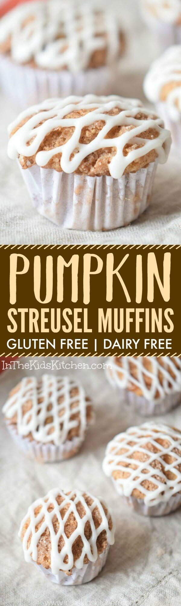 Homemade Gluten Free Pumpkin Streusel Muffinsbring back the fun in holiday baking for everyone! Topped with GF streusel & sweet dairy free glaze.